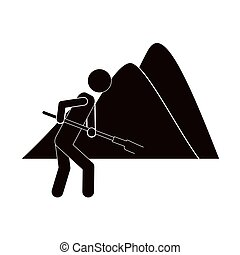 black silhouette farmer with mattock in the mountain vector...