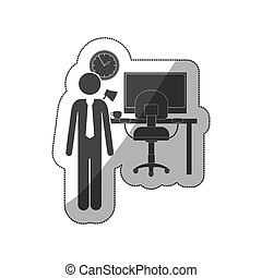 sticker silhouette man administrator in office vector...