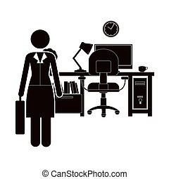 black silhouette woman administrator in office vector...