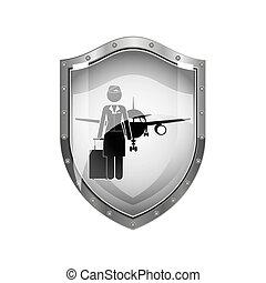 metallic shield of flight attendant and aeroplane vector...