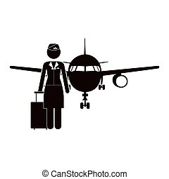 black silhouette flight attendant and aeroplane vector...
