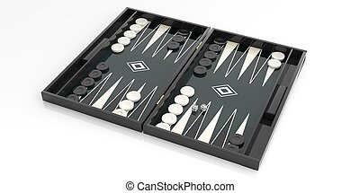 Black and white backgammon board. 3d illustration - Black...