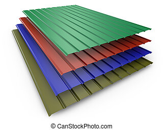 colored metal profile sheets - a stack of colored metal...