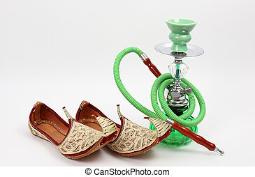 Water pipe and traditional Arabic shoes