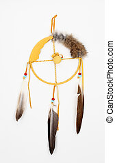 Indian dream catcher over white background