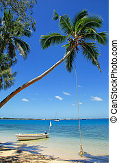 Leaning palm tree with rope swing at Pangaimotu island near...