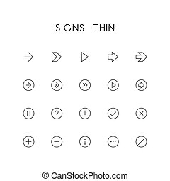 Signs thin icon set - different arrows, question and...