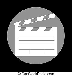 Film clap board cinema sign. White icon in gray circle at black