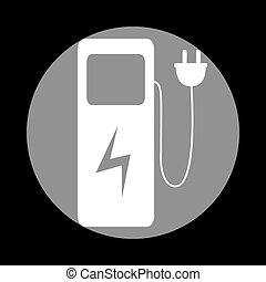 Electric car charging station sign. White icon in gray...