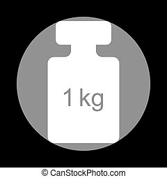 Weight simple sign. White icon in gray circle at black...