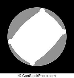 Pillow sign illustration. White icon in gray circle at black...