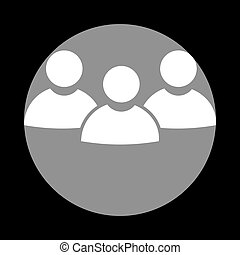 Team work sign. White icon in gray circle at black background. C