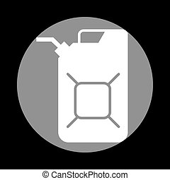Jerrycan oil sign. Jerry can oil sign. White icon in gray...