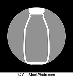 Milk bottle sign. White icon in gray circle at black background.