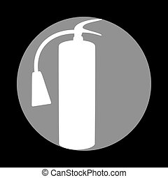 Fire extinguisher sign. White icon in gray circle at black backg