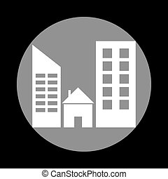 Real estate sign. White icon in gray circle at black background.