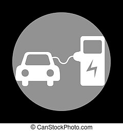 Electric car battery charging sign. White icon in gray...