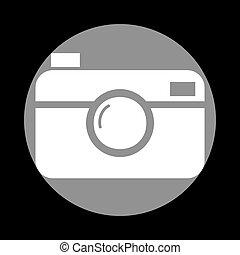 Digital photo camera sign. White icon in gray circle at...