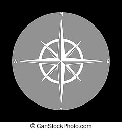 Wind rose sign. White icon in gray circle at black background. C
