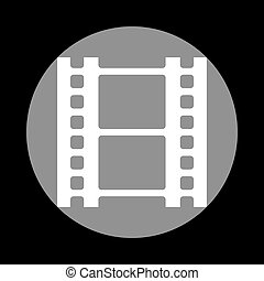 Reel of film sign. White icon in gray circle at black background