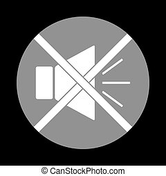 Sound sign illustration with mute mark. White icon in gray...