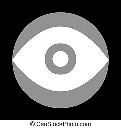 Eye sign illustration. White icon in gray circle at black backgr