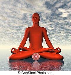 Red muladhara or root chakra meditation - 3D render