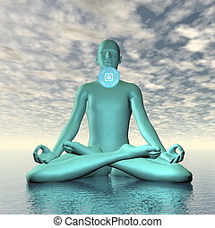 Blue vishuddhi, vishuddha or throat chakra meditation - 3D...