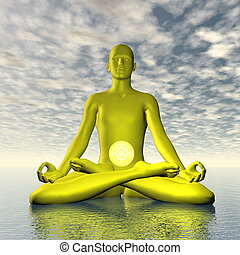 Yellow manipura or solar plexus-navel chakra meditation - 3D render
