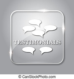 Testimonials icon. Transparent internet button on grey...