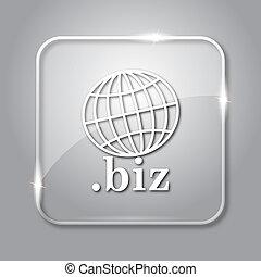 .biz icon. Transparent internet button on grey background.
