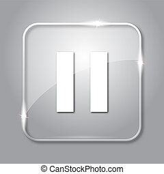 Pause icon. Transparent internet button on grey background.