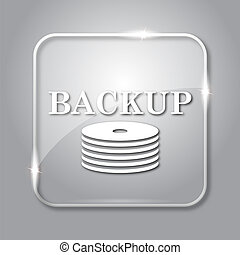 Back-up icon. Transparent internet button on grey...