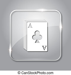 Deck of cards icon. Transparent internet button on grey...