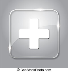 Medical cross icon. Transparent internet button on grey...