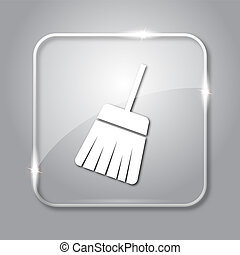 Sweep icon. Transparent internet button on grey background.