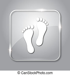 Foot print icon. Transparent internet button on grey...