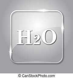 H2O icon. Transparent internet button on grey background.