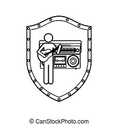 contour shield of guitar player with casset stereo recorder...