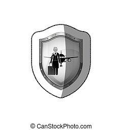 sticker of shield flight attendant and aeroplane
