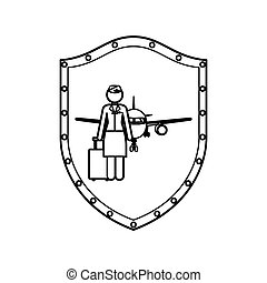 contour shield of flight attendant and aeroplane vector...
