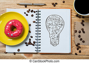 Sweet snack for new idea - Notepad with idea sketches coffee...