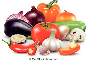Vegetables Composition On White Background - Vegetables...