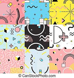 Seamless Patterns Set Memphis Style - Set of colorful...