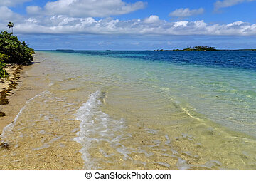 Clear water at Pangaimotu island near Tongatapu island in...