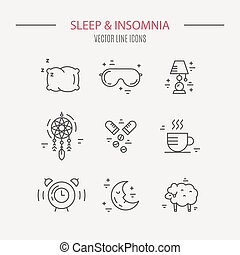 Insomnia Line Icons - Sleep problems and insomnia icons....