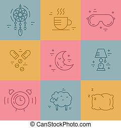 Insomnia Line Icons - Vector line pictograms on insomnia....