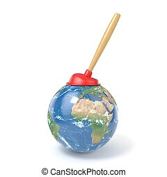 Red kitchen plunger on planet Earth 3D