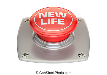 New Life Red button, 3D rendering