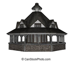 Pavilion - 3D render - Pavilion isolated in white background...